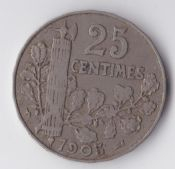 France, 25 Centimes 1905, VF, WE2957